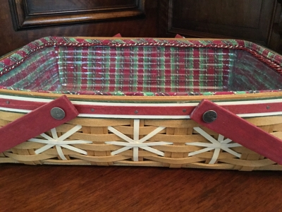 2009 Longaberger Snowflake Cookie Basket with Fabric Liner and Protector