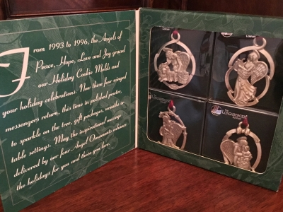 1998 Longaberger Pewter Angel Ornaments