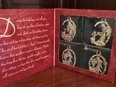1999 Longaberger Pewter Angel Ornaments