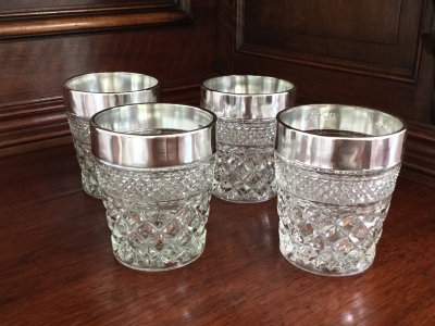 Vintage Cut Glass Tumblers with Trim, Set of 4