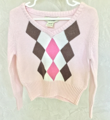 Cherokee Pink Argyle Sweater, Size XS 4-5
