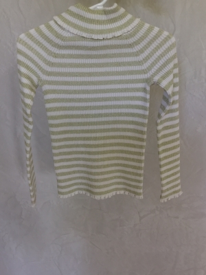 The Children's Place Gold Metallic and White Striped Turtleneck Sweater, Size S 5-6