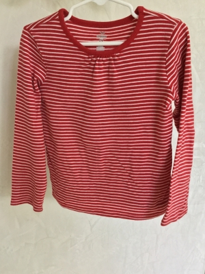 Old Navy Red and White Striped Long Sleeve T-shirt, Size 5T