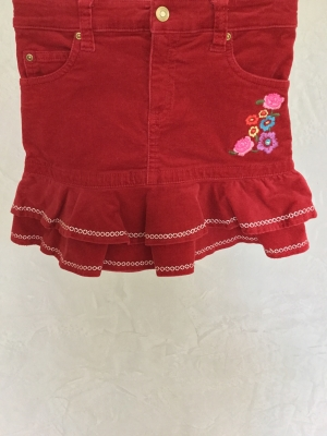 Greendog Red Corduroy Skirt with Flowers, Size 5