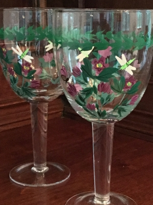 "Portmeirion Botanic Garden ""Purple Flower"" Water Glasses, Set of 2"