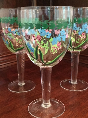 "Portmeirion Botanic Garden ""Blue Flower"" Water Glasses, Set of 3"