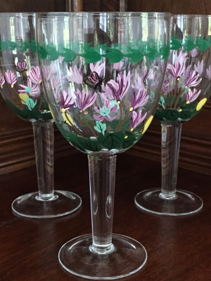 "Portmeirion Botanic Garden ""Yellow Butterfly"" Water Glasses, Set of 3"