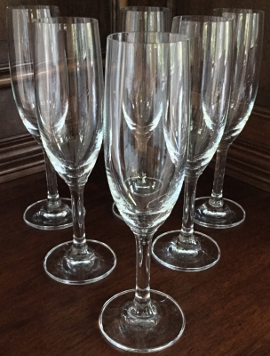 Glass Champagne Flutes, Set of 6