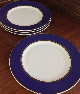 Cathy Hardwick for Mikasa Royal Cobalt Bread Plates, Set of 4