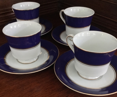 Cathy Hardwick for Mikasa Royal Cobalt Cups and Saucers, Set of 4
