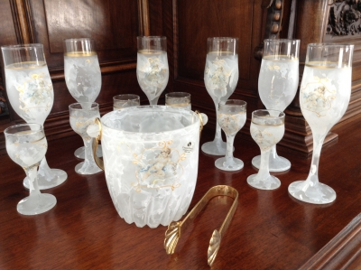 Venetian Glasses/Ice Bucket