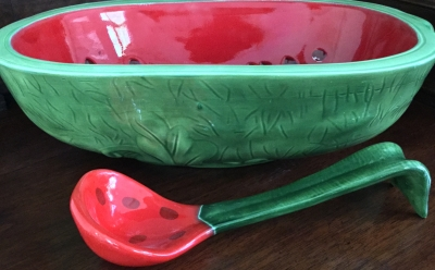 """Watermelon"" Bowl and Ladle"
