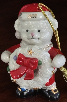 Lenox 2018 Teddy Bear Santa Ornament