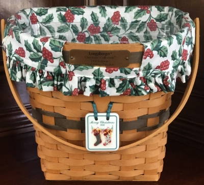 1998 Longaberger Glad Tidings Basket with Medallion, Fabric Liner and Plastic Protector