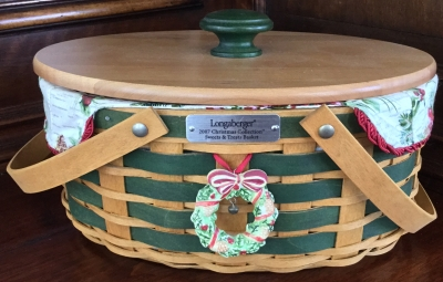 2007 Longaberger Sweets & Treats Basket with Lid, Fabric Liner and Plastic Protector