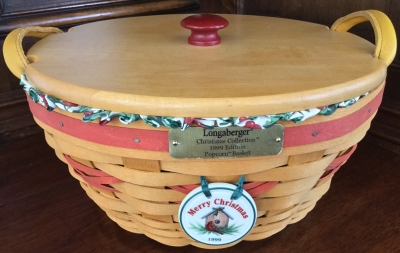 1999 Longaberger Popcorn Basket with Lid, Fabric Liner and Plastic Protector