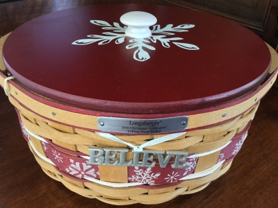 2010 Longaberger Falling Snow Basket with Lid, Fabric Liner and Plastic Protector