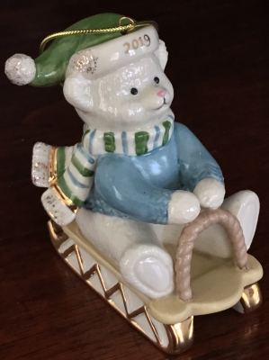 Lenox 2019 Teddy Bear Sledding Ornament