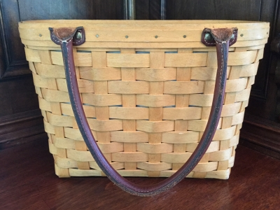 Longaberger Boardwalk Basket with Fabric Liner and Plastic Protector