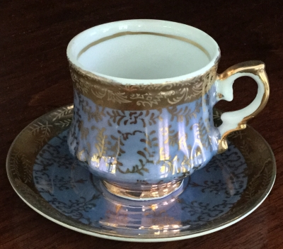 Lavender and Gold Teacup and Saucer