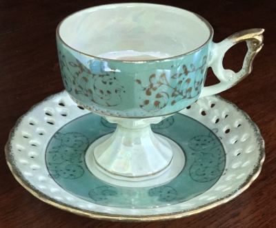 Royal Crown Mint Green Teacup and Saucer