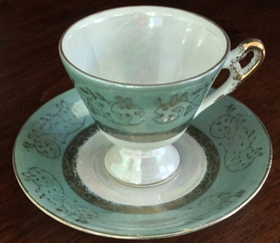 Royal Crown Mint Green and White Teacup and Saucer
