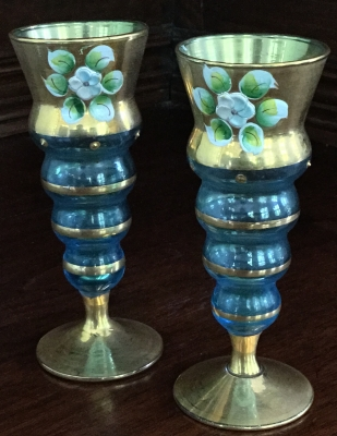 Handpainted Cordial Glasses, Set of 2