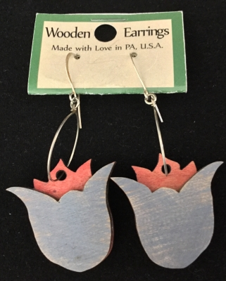 Wooden Tulip Earrings