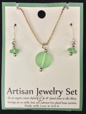 Artisan Jewelry Set, Green Glass Necklace and Earrings