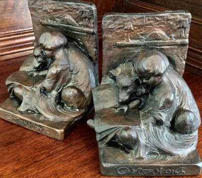 Vintage Weidlich Bros Copper Clad with Bronze Finish Companions Bookends