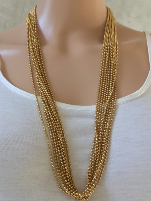 Gold-Colored Bead Necklace with Clasp