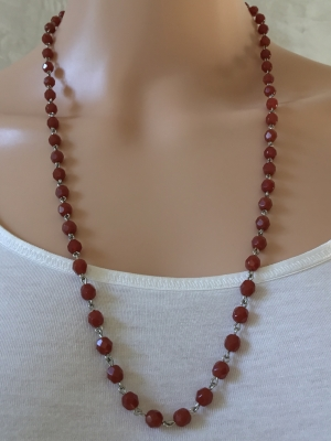 Amber-Colored Faceted Bead Necklace