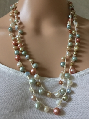 Rope and Bead Double Strand Necklace
