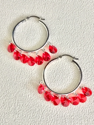 Silver Hoops with Beads