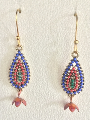 Blue, Green, and Maroon Bead Earrings