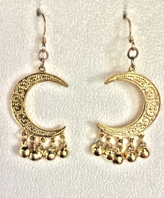 """Crescent with Beads"" Earrings"