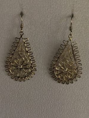 "Gold ""Flower"" Teardrop Earrings"
