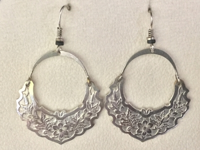 "Silver ""Crescent Flower"" Earrings"