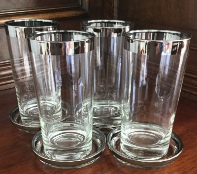 Vintage Silver Trim Glasses and Coasters, Set of 4