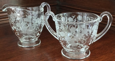 Vintage Etched Glass Sugar and Creamer
