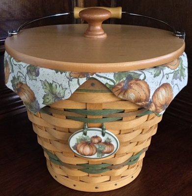 2002 Longaberger Pumpkin Pail with Fabric Liner and Plastic Protector