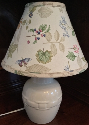 Longaberger Ivory Lamp with Botanical Fields Lampshade