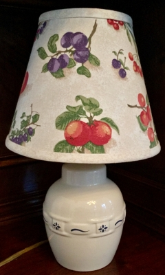 Longaberger Classic Blue Woven Lamp with Fruit Medley Lampshade