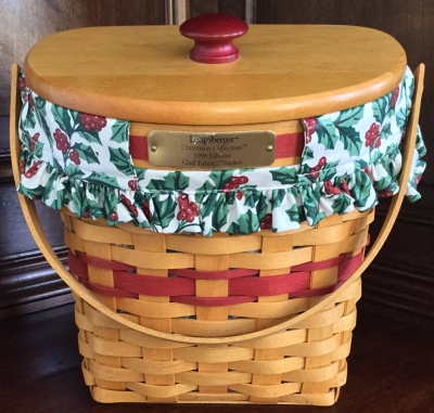 1998 Longaberger Glad Tidings Basket with Fabric Liner and Plastic Protector