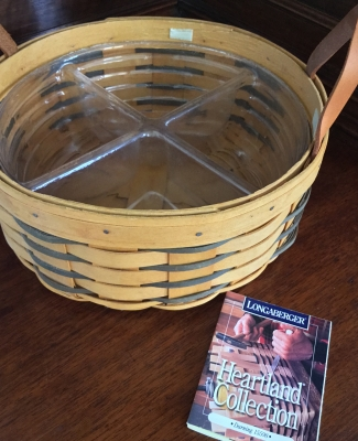 1998 Longaberger Darning Basket with Divided Plastic Protector