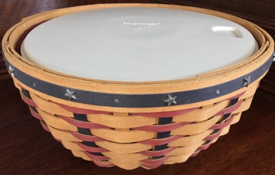 Longaberger Proudly American Basket with Lid, Fabric Liner and Plastic Protector