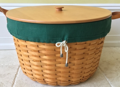Longaberger Pot of Gold Basket with 2 Fabric Liners and Plastic Protector