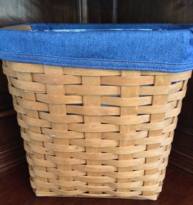 2007 Longaberger Medium Trash Basket with Fabric Liner and Plastic Protector
