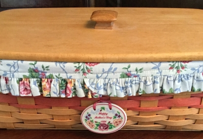 1996 Longaberger Happy Mother's Day Basket with Lid, Fabric Liner and Plastic Protector