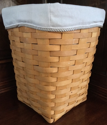 Longaberger Square Waste Basket with 2 Fabric Liners and Plastic Protector